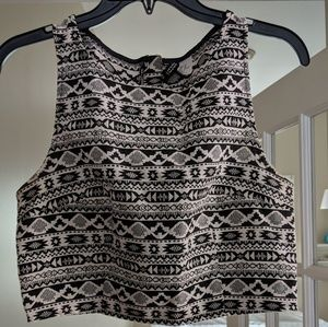Black and White print crop top with back zip